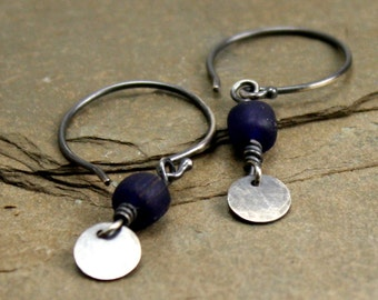 Cobalt Tiny Drop Earrings in Sterling Silver and Matte Glass