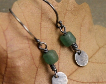 Sage Tiny Drop Earrings in Sterling Silver and Matte Glass