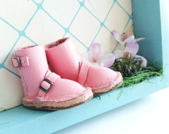 Blythe Mini Pink Leather Boots Hand Made By MizuSGarden