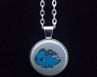 "Elemental Fat Air Dragon Pendant Necklace - 24"" Silver Plated Chain"