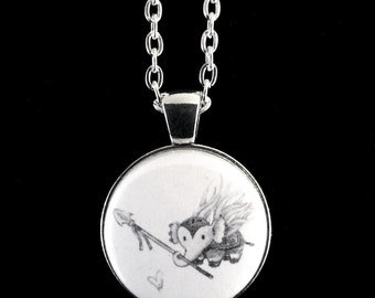 "BAE - Battle Angel Elephant - Pendant Necklace - 24"" Silver Plated Chain"