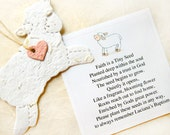 12 Seed Paper Lamb Baptism Favors Baby Shower Seed Favor - Plantable Paper Lambs - DIY Hearts
