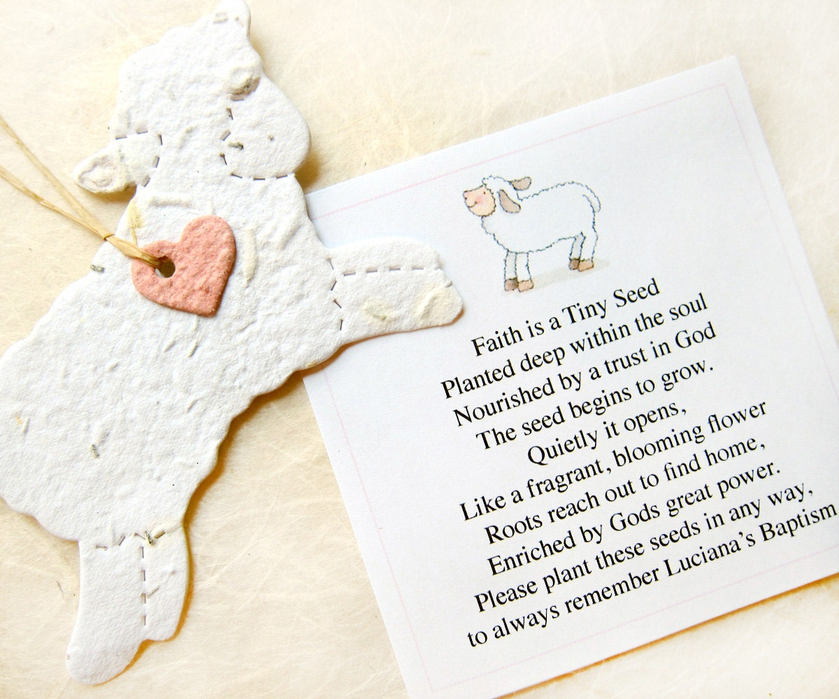 12 Seed Paper Lamb Baptism Favors Baby Shower Seed Favor