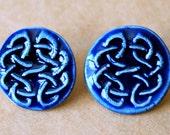 Handmade Ceramic Post Earrings - Celtic Knot Studs in Royal Blue Gloss