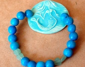 Mermaid Bracelet with Aqua handmade ceramic bead and stone beads