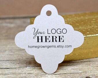 Customized Logo Hang Tags Price Tags Product Display - Scalloped Edge Diamond - thank you