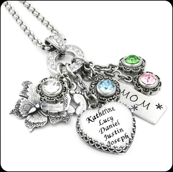 heart mom jewelry personalized mom necklace mom heart. Black Bedroom Furniture Sets. Home Design Ideas