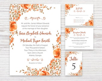 Country Flowers Wedding Invite Invitation Package - Fall - Customized - DIY Printable