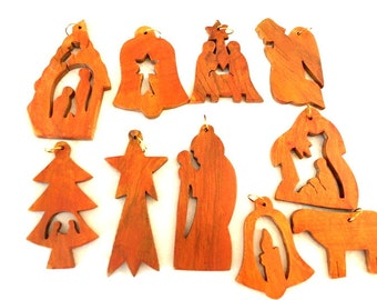 SALE-Christmas tree ornaments, carved of olive wood in Bethlehem, Holy Land-set of 10