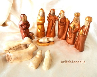Nativity set made of olive wood, hand carved in Bethlehem hand painted in Holy Land