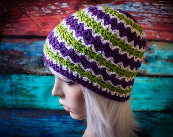 Zig-Zag Beanie Hat in Purple, Green and White
