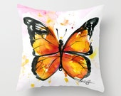Monarch Butterfly Pillow, Orange Butterfly Watercolor Painting Art, Original abstract by Kathy Morton Stanion  EBSQ