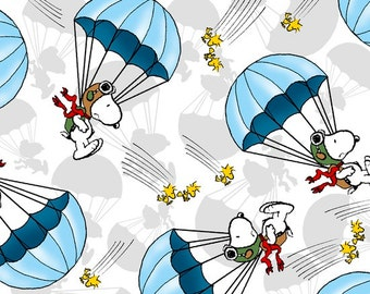 Quilting Treasures, Snoopy -  Flying Ace, Snoopy Parachute Toss in Blue, yard