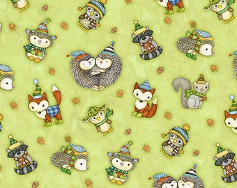 Hedgehugs in Green from Henry Glass Fabrics, Yard
