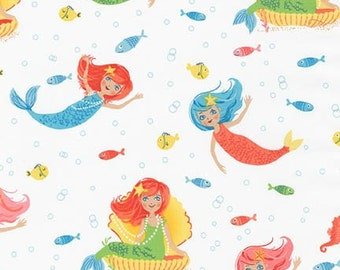 NEW, Mermaids in Marine, Aquatic Friends from Robert Kaufman Fabrics, yard