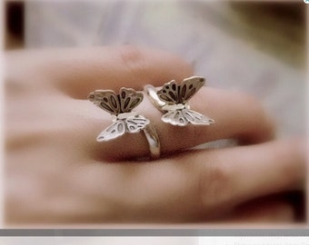 Sterling silver butterfly flying Ring-butterflies wrap ring-Two dancing Stars Adjustable ring-Floating Stars Ring-Ocean Beach-Wrap Ring