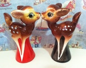 FREE SHIPPING Very Rare Vintage Bambi Inspired Deer Salt & Pepper Shakers Collectibles or Cake Toppers