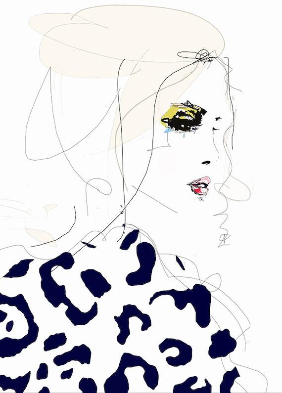 Line Drawing Etsy : Draw the line fashion illustration art print portrait