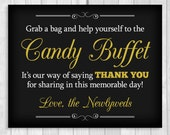 SALE Grab a Bag and Help Yourself to the Candy Buffet 8x10 Printable Black and White and Gold Wedding Digital Sign - Digital Download