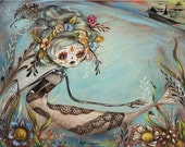 "Mermaid with Pirate Ship - Dia de los Muertos - Day of the Dead - Sugar Skull - ""Unrequited"" Pop Folk Surrealism Print by Heather Renaux"