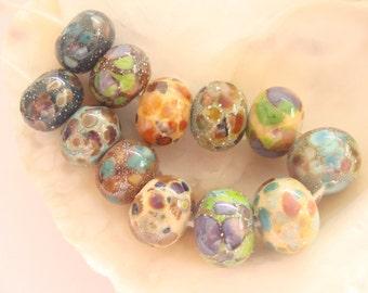 12 Silvered Handmade Lampwork Beads