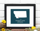 State Map Art, Personalized Wedding Gift, State Map Print, Montana Art, Personalized Montana State Map, Gifts Under 25 - 8x10 Art Print