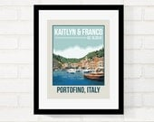 Personalized Location Travel Poster Retro Vintage Style Wall Art Wedding Gift First Paper Anniversary Gift - USE YOUR PHOTO - 8x10 Art Print