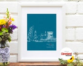 Cleveland Skyline Newlywed Gift Cleveland Ohio Art Print Poster Personalized Newly Wed Gift Just Married Shower - Any City - 8x10 Art Print