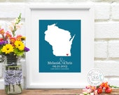 Personalized State Map Art Print - Custom Bridal Shower Gift - Wisconsin - Any State/Lake/Island, Names, Date, 36 Colors with Heart - 8x10