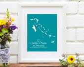 Personalized Bridal Shower Gift, Bahamas Wedding Gift, Personalized Anniversary, Bahama Engagement Gift, Guest Book Idea - 8x10 Art Print