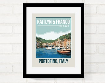 Personalized Location Travel Poster Retro Vintage Style Wall Art Wedding Gift First Paper Anniversary Gift - USE YOUR PHOTO - Art Print