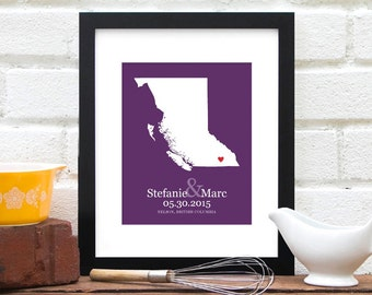 Personalized Map BC, Canada, British Columbia Personalized Anniversary Gift, Canadian Province Wedding, Canadian Bride -  Art Print