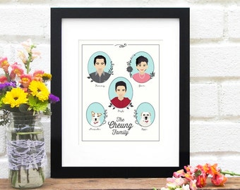 Illustrated Family Portrait, Big Family Tree, Personalized Family Illustration, Grandkids - Art Print Family Tree Custom Illustration