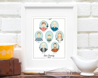Gift for Grandma, Family Portrait Illustration, Parent Anniversary, Generation, Family Tree, Personalized Family Print, Grandkids Pic