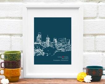 Philadelphia Skyline, Engagement Gift, Philly Skyline Art, First Anniversary Gift, Wedding Gift for Philly Couple, Philadelphia Wedding