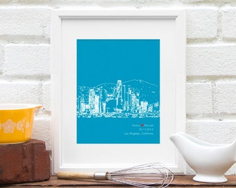 Personalized Los Angeles City Skyline Anniversary Gift, Gay Wedding Gift, LA Wedding, Engagement Gift, Los Angeles, California Cityscape Art