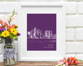 Boston skyline, Personalized Boston art, Boston Wedding Gift, Gift for Boston, Massachusetts Couple, Wedding Gift, City Skyline - 8x10 Print