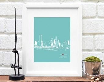 Houston City Skyline, Houston Texas skyline art, Personalized Engagement Gift, City Art, Houston Texas, Personalized Anniversary Gift - 8x10