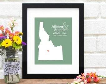 Idaho State Art Map, Personalized Wedding Gift, Custom State Map, Engagement Gift, Personalized Anniversary, Bridal Shower -  Art Print