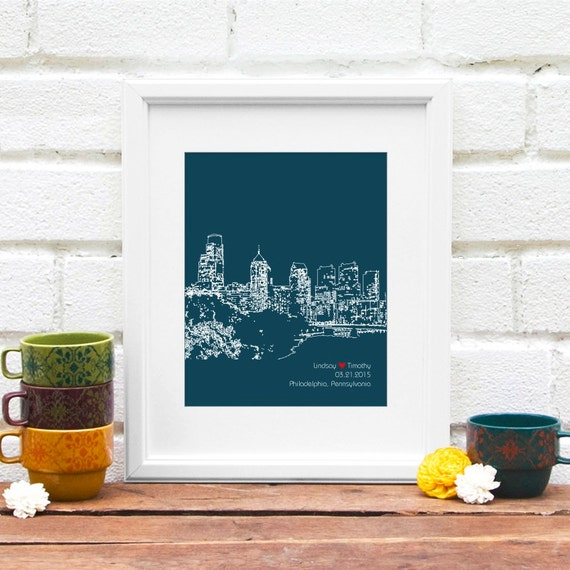 Gift for Philadelphia Couple, Personalized Engagement Gift, City Art, Personalized Anniversary Gift, Wedding Decor, Urban Art Philly Skyline