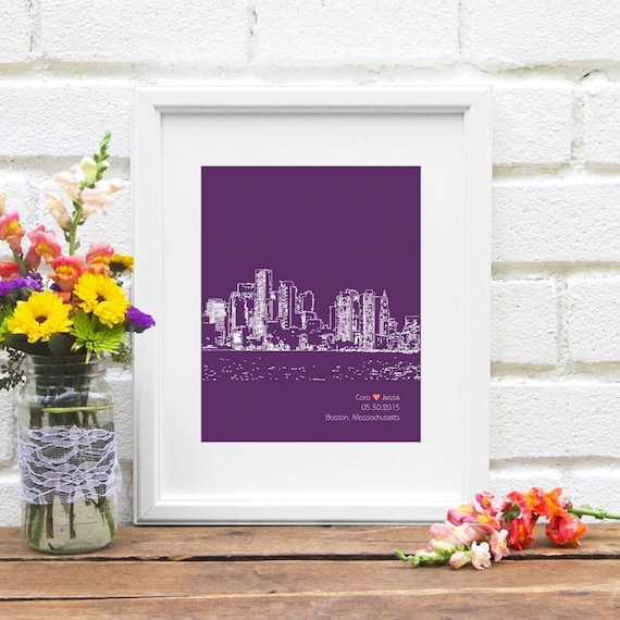 Boston skyline, Personalized Boston art, Boston Wedding Gift, Gift for Boston, Massachusetts Couple, Wedding Gift, City Skyline - 8x10 Print