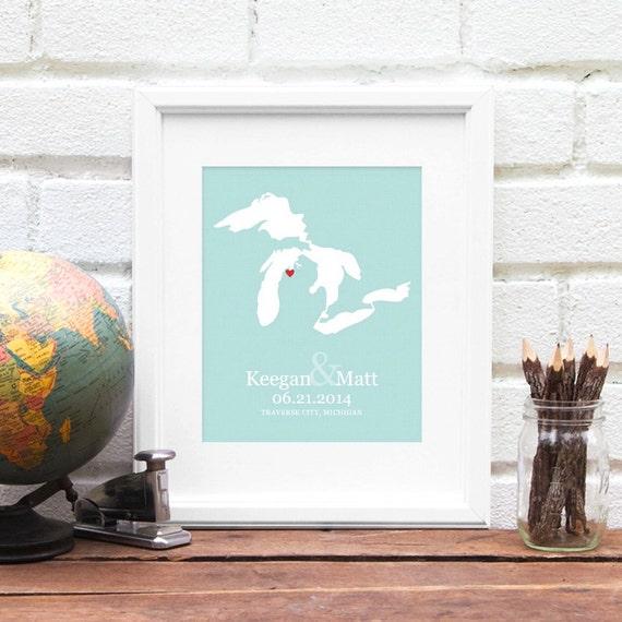 Great Lakes Wedding Gift, Personalized Lake Art Map, Personalized Family Lake Art, One Year Paper Gift, Lake Bride - 8x10 Art Print