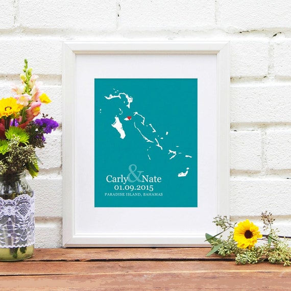 Personalized Bridal Shower Gift, Bahamas Wedding Gift, Personalized Anniversary, Bahama Engagement Gift, Guest Book Idea -  Art Print