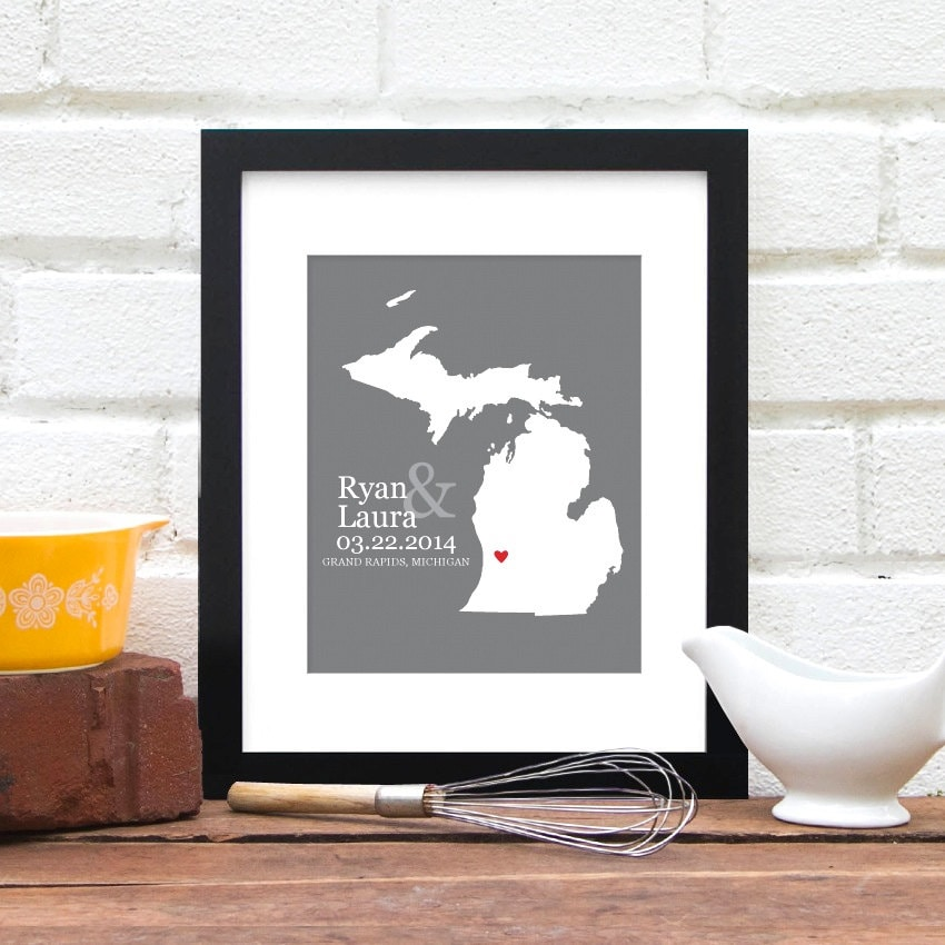 A Great Wedding Gift: Michigan Wedding Gift Custom State Map Personalized