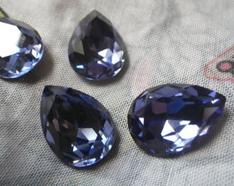 Tanzanite Purple 18X13mm Pear Glass Gems Foiled 4 Pcs