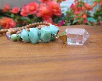Long Gemstone Boho Necklace Clear Quartz Gold Dipped Raw Crystal Pendant - Chunky Gemstones - Purple Green Blue - Bohemian Amethyst Jewelry
