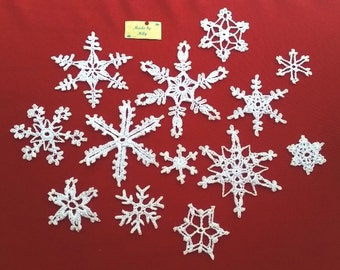 SPRING SALE! dozen of 13 crocheted snowflakes Christmas decoration