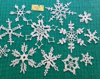 SPRING SALE! dozen of 13 crocheted snowflakes Christmas decoration