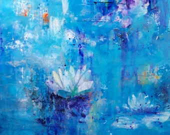 Abstract Waterlily Art, Blue Abstract Wall Art, Blue Artwork, Waterlily Artwork, Blue Flower Print, Contemporary Flower Decor, Fine Art