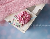 Newborn Girl Photo Prop Rose pink and blue Dahlia and Ruffled Rosette All Things Ribbon Headband for girls